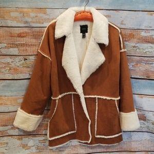 Vintage Style Faux Fur Suede Open Aviator Jacket!
